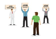 A talent looking and choosing three employers with their signboard, attracting him into their company. Concept of recruitment,. Headhunter or corporate hiring stock illustration