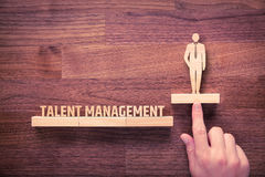 Talent management. Concept. Human resources recruiter helps employee with his personal development stock image