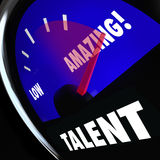 Talent Measurement Gauge Rating Level Skills Better High Feedbac. Talent word on a measurement gauge to rate your level of skills and abilities, with needle royalty free illustration