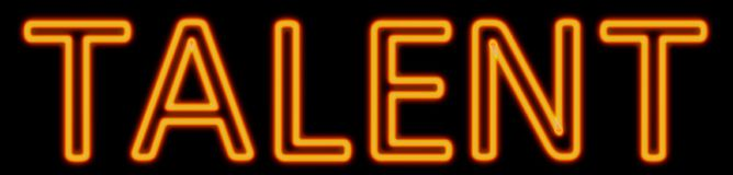 Talent neon sign. Abstract 3d rendered words talent orange neon sign on black background Royalty Free Stock Images