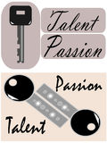 Talent and passion are the keys, vector. Talent and passion are the keys that open the doors to success. Talent is the biggest and best resource that people have Stock Photo