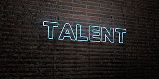 TALENT -Realistic Neon Sign on Brick Wall background - 3D rendered royalty free stock image Stock Images