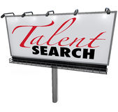 Talent Search Billboard Help Wanted Find Skilled Workers. Talent Search words on a white billboard to illustrate a search or hunt for skilled workers or Royalty Free Stock Photos