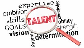 Talent Search Magnifying Glass Find Job Candidates Skilled Peopl. E 3d Illustration Royalty Free Stock Image