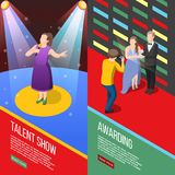 Talent Show Isometric Banners. Set of vertical isometric banners with talent show tv program and performers with awards  vector illustration Stock Images