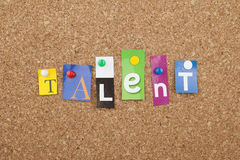 Talent. Single word on bulletin board royalty free stock images