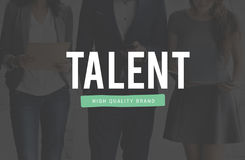 Talent Skills Ability Expertise Performance Professional Concept. Business people using digital device talent typography royalty free stock images