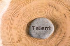 Talent in steen op boom stock afbeeldingen