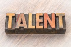 Talent word abstract in wood type. Talent word abstract in vintage letterpress wood type royalty free stock photos