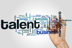 Talent word cloud. Concept on grey background stock image