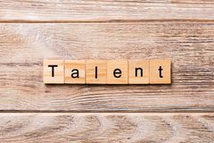 Talent word written on wood block. Talent text on wooden table for your desing, concept.  stock image
