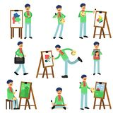 Talented artist painter colorful character set. Flat profession artist painting on canvas set. Talented painter colorful character. Artistic elements, paint and Stock Images