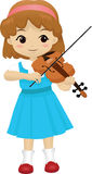 Talented Girl 2 (no background). Vector illustration of a cute little girl playing her violin Royalty Free Stock Image