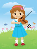 Talented Girl. Vector illustration of a cute little girl playing her violin outdoor with beautiful flowers and butterflies Royalty Free Stock Images