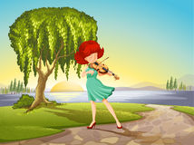 A talented girl with a violin Royalty Free Stock Photography