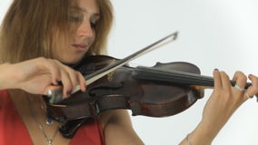 Talented girl violinist playing on her a musical stock video