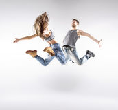 Talented hip-hop dancers practising together. Talented hip-hop dancers excercising together Royalty Free Stock Photo