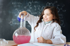 Talented little girl taking part in science experiment in the laboratory. Doing my best for excellent mark. Skillful diligent cheerful child sitting in the Royalty Free Stock Image
