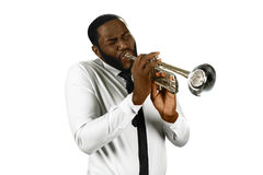 Talented man plays trumpet. Stock Images
