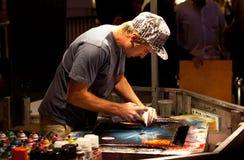 Talented spray painter royalty free stock photo