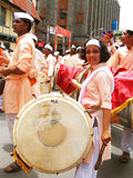 Talented Street Performers. A group of talented Indians playing Indian musical instrument, the dhol, on the street on the occasion on ganapati festival Stock Images