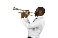 Talented trumpet performer. Stock Image