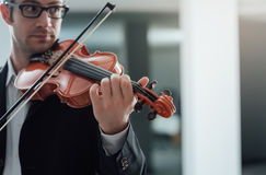 Talented violinist solo performance Royalty Free Stock Photo