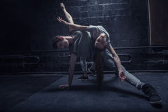 Talented young dancers performing together Royalty Free Stock Photography