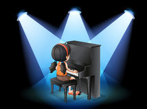 A talented young girl playing with the piano stock illustration