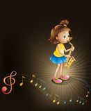 A talented young girl with a saxophone Stock Images