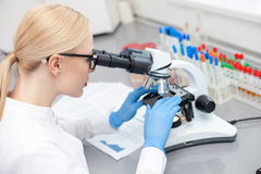 Talentierter junger Laborassistent macht genauere Analyse Stockbild