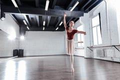 Talentierter schöner Balletttänzer, der eine Wiederholung hat stockbilder