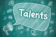Talents - Doodle Illustration on Blue Chalkboard. Royalty Free Stock Image