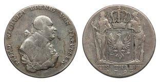 Ασημένιο νόμισμα Γερμανία Πρωσία 1 taler 1795 στοκ εικόνα με δικαίωμα ελεύθερης χρήσης