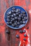 Talerz czarne jagody Fotografia Royalty Free