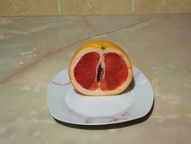 Talerz grapefruitowy na stole obraz stock