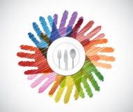talerz i naczynia nad kolorem wręczamy różnorodność ilustracji