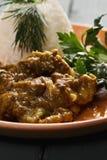 Talerz jagnięcego curry'ego zbliżenie Zdjęcie Royalty Free