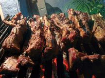 talerz kiełbas grilla razem grilla Zdjęcie Royalty Free