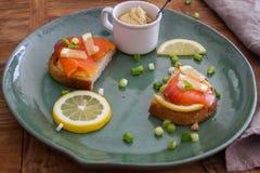 Talerz łososiowi sandwichs z hummus zdjęcia stock