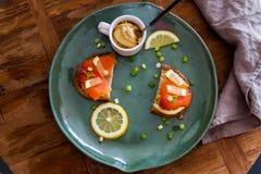 Talerz łososiowi sandwichs z hummus zdjęcie royalty free