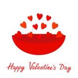 Talerz pełno czerwoni serca Prezenta przedmiot Szczęśliwej walentynka dnia karty Płaski projekt odosobniony Biały tło Zdjęcie Royalty Free