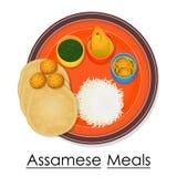 Talerz pełno wyśmienicie Assamese posiłek ilustracji