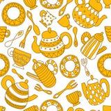 Talerz, rozwidlenie, łyżka, teapot i filiżanka, bezszwowy wzoru royalty ilustracja