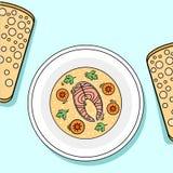 Talerz ryba, marchewka i zielenie zupni, Fotografia Stock