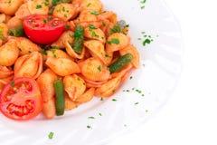 Talerz spaghetti i pomidorowy kumberland Obrazy Stock