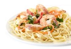 Talerz spaghetti z owoce morza fotografia stock