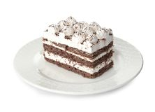 Talerz tiramisu tort na bielu zdjęcia royalty free