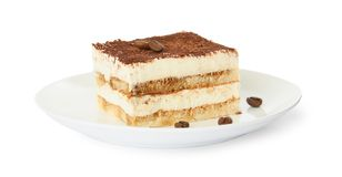 Talerz tiramisu tort na bielu obrazy royalty free