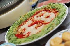 Talerz Yu Sheng (surowej ryba sałatka) obraz stock